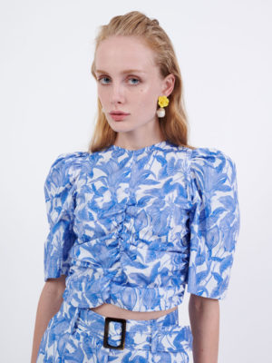 Milkwhite Short Sleeves Top Blue