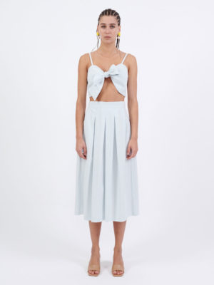 Milkwhite Midi Cotton Skirt Light Blue