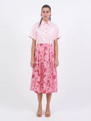 Milkwhite Printed Cotton Skirt Pink