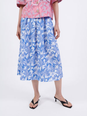 Milkwhite Printed Cotton Skirt Tropical Blue