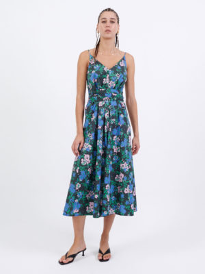 Milkwhite Printed Long Wrap Dress