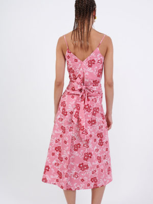 Milkwhite Printed Long Wrap Dress Pink