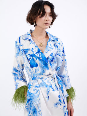 Milkwhite Printed Robe Blazer With Feathers
