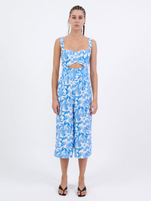 Milkwhite Printed Tropical Blue Jumpsuit