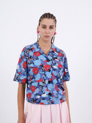 Milkwhite Camp-Collar Printed Shirt