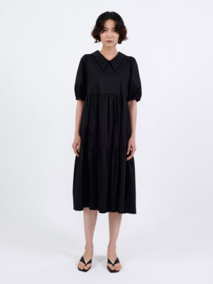 Milkwhite Cotton Dress Black