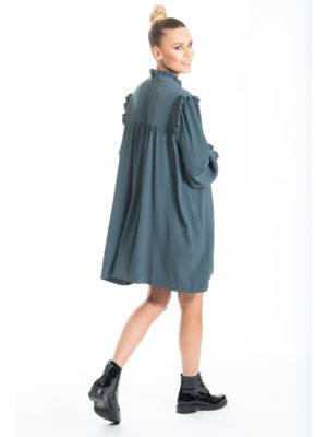 Chaton Runway dress with frills Dark Teal