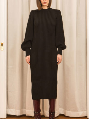 Ofilia's Knitted Dress with Puffed Sleeves