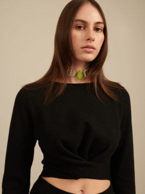 Milkwhite Knit Crop Top Black