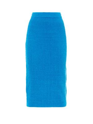 Milkwhite Knit Pencil Skirt Blue