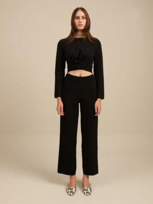 Milkwhite Knit Trousers Black
