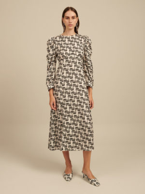 Milkwhite Logo Printed Maxi Dress