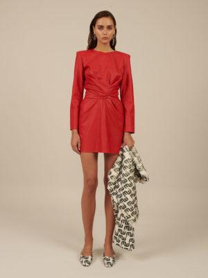 Milkwhite Mini Vegan Leather Wrap Dress