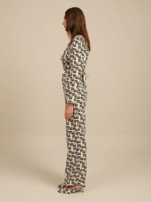 Milkwhite Printed Wide-Leg Trousers