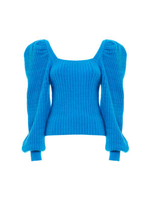 Milkwhite Puff Sleeve Knit Top Blue