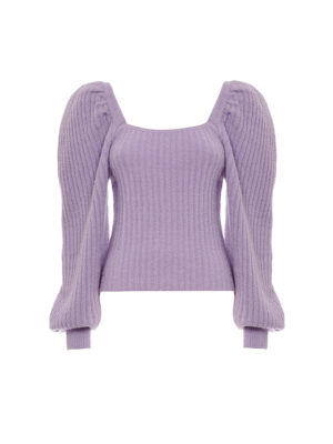 Milkwhite Puff Sleeve Knit Top Lilac