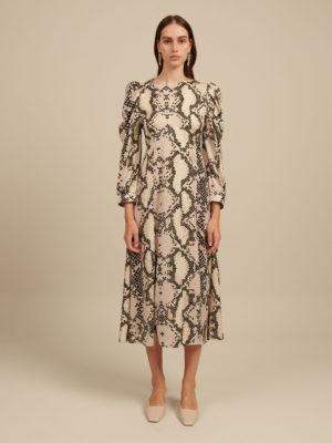 Milkwhite Snake Printed Maxi Dress