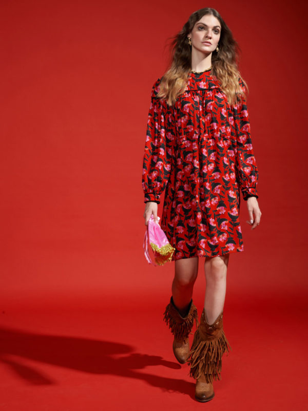 We_are Tiered Midi Dress Red