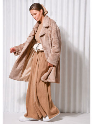 Arpyes Moonstone Faux Fur Coat Beige