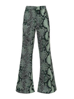 Milkwhite Printed Flare Trousers
