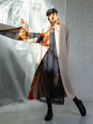 The Knls Wool Coat With Color-Block Scarf