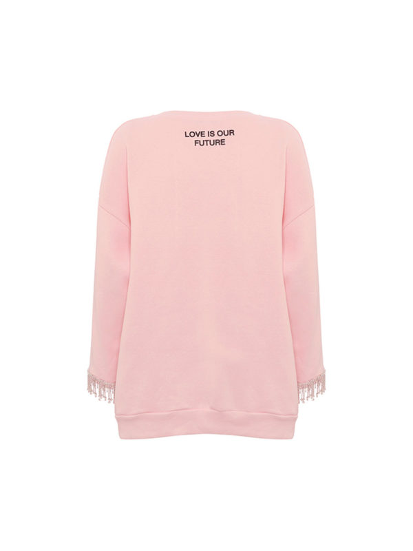 Milkwhite Sweatshirt with Crystalls Pink