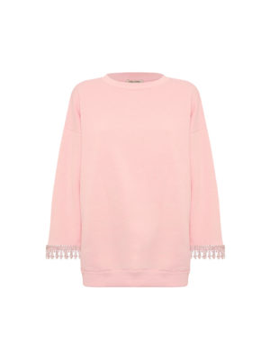 Milkwhite Sweatshirt with Crystalls Pink
