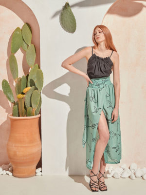 The Knls Column Skirt Mint Birds
