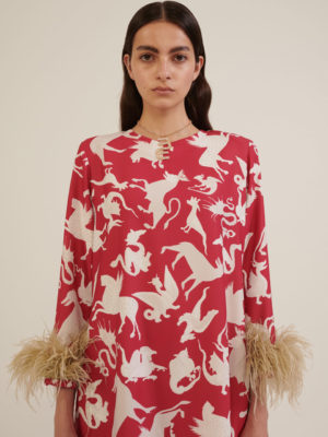 Milkwhite Printed Long Top With Feathers