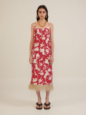 Milkwhite Printed Slip Dress With Feathers