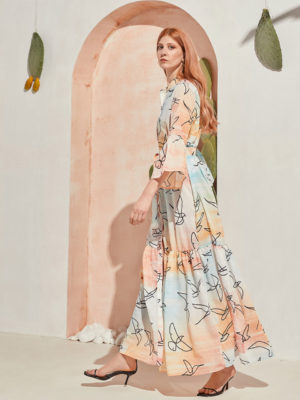 The Knls Sway Sky Birds Printed Dress